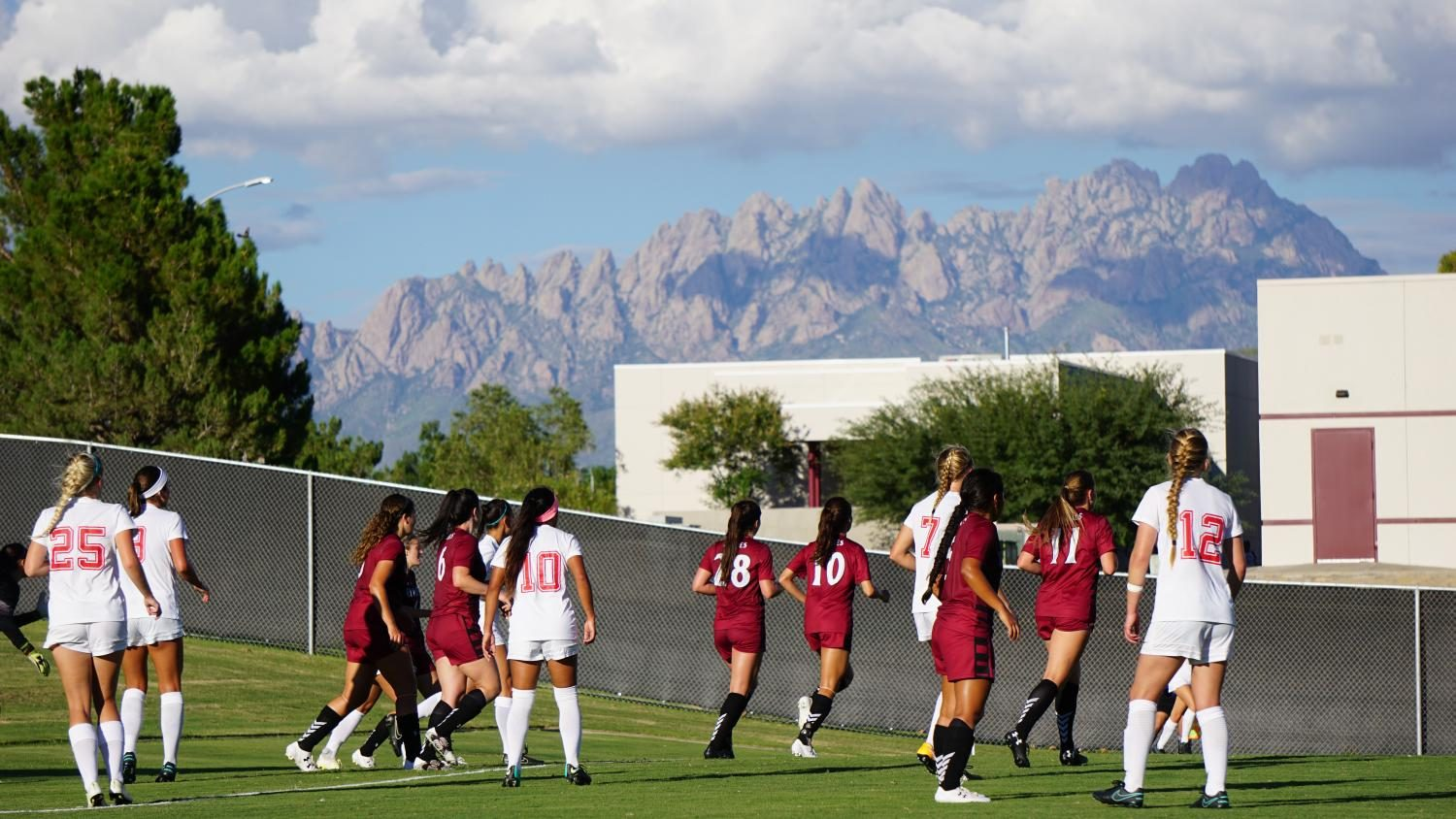 NMSU girls soccer defends the field against the UNM Lobos