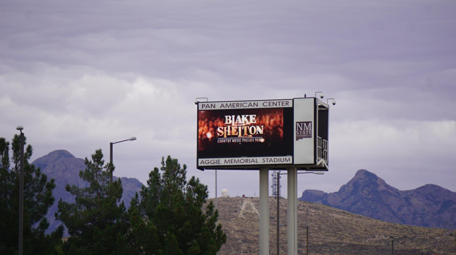 Pan American Center advertising the Blake Shelton concert that will be coming to NMSU in early 2018.