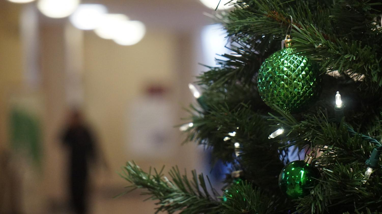 A festive tree in the Corbett Center.