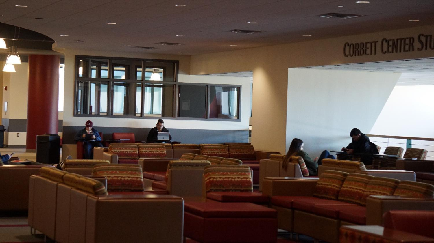 Students studying on the second floor of Corbett.