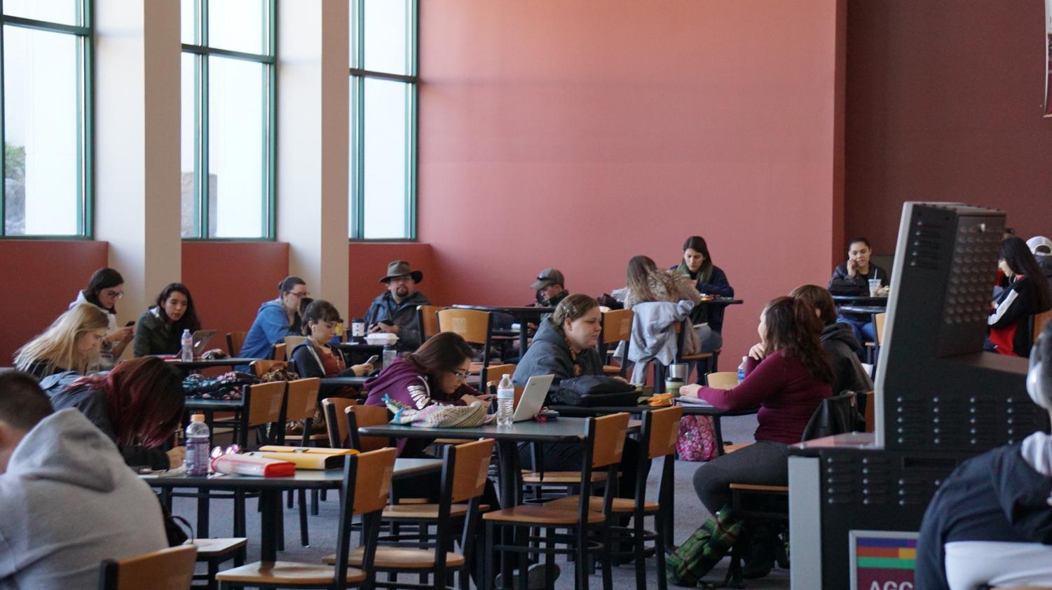 Students studying on the first floor of Corbett.
