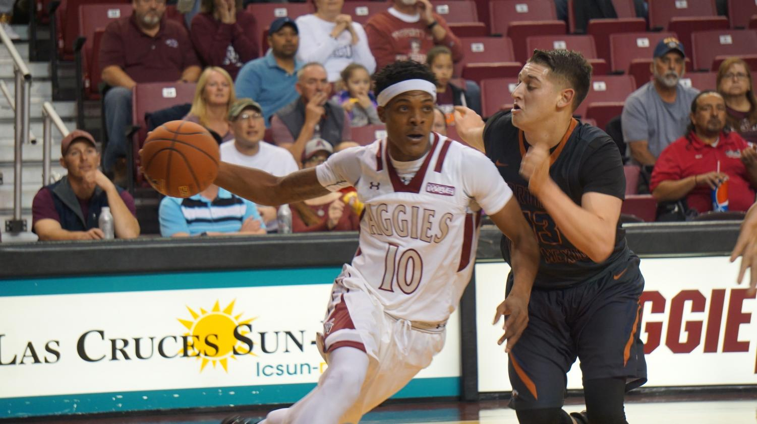 Senior forward Jemerrio Jones makes a move to the basket, Tuesday night against Northern New Mexico.