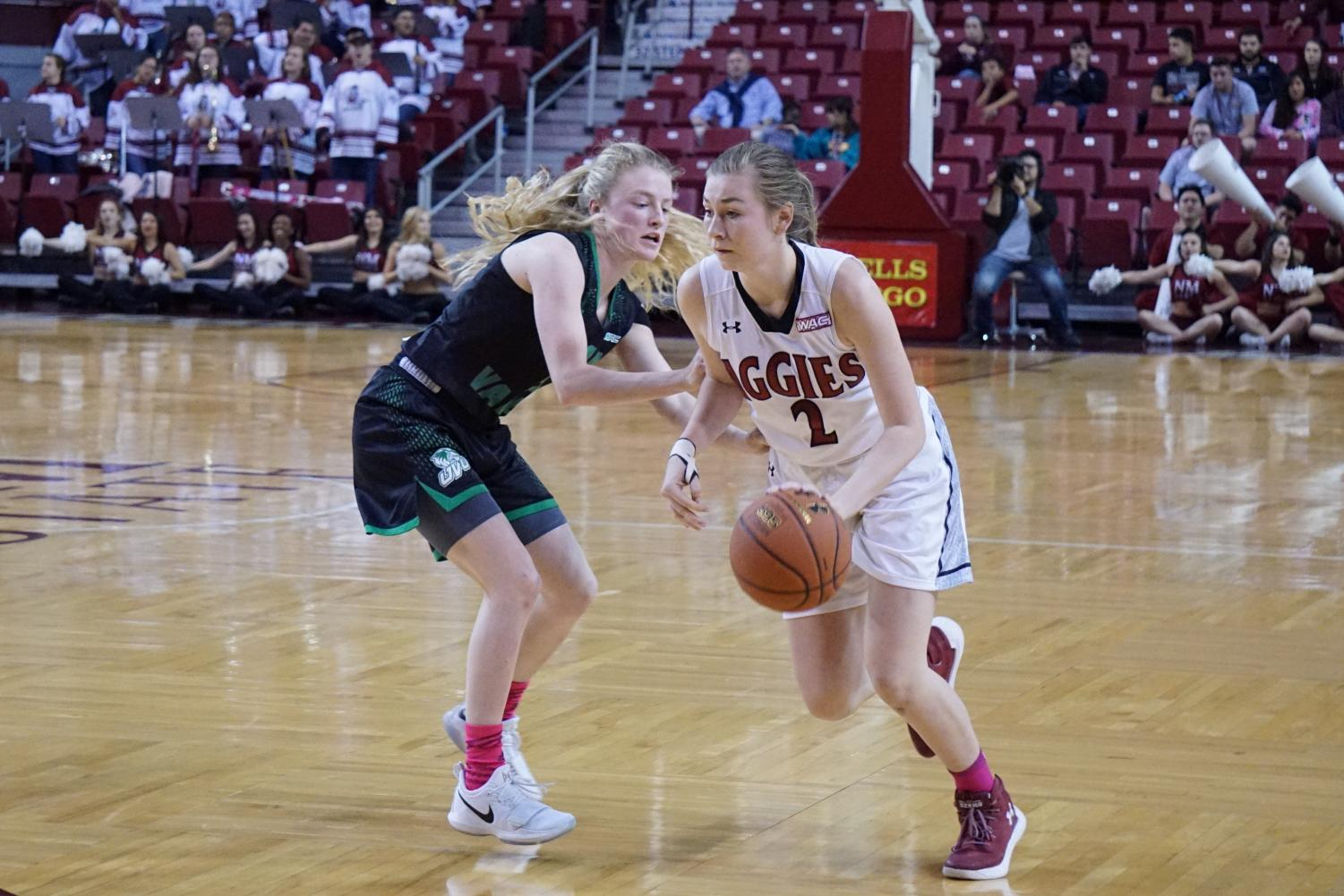 NMSU ends their losing streak at two with a critical win over Utah Valley.