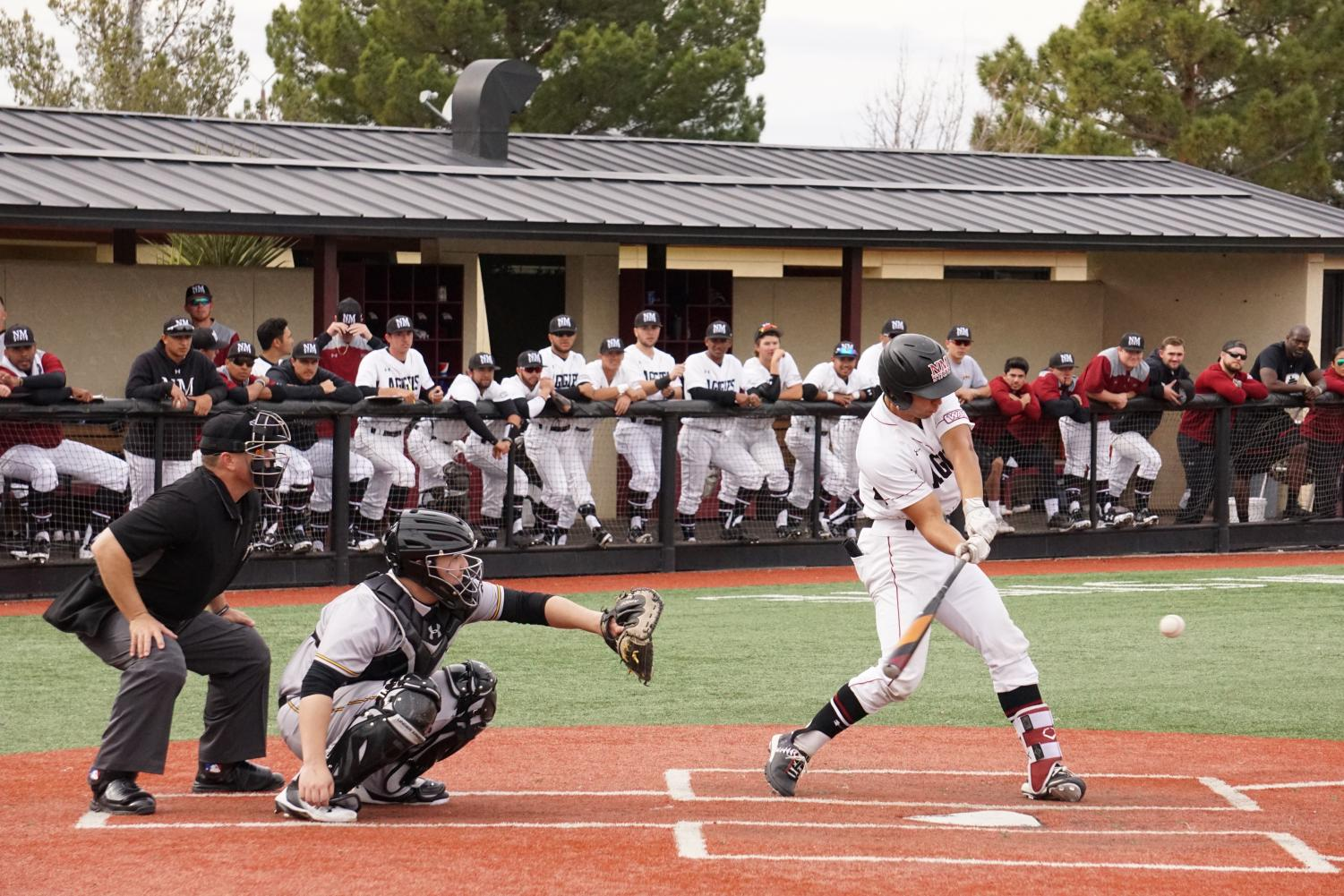 NMSU's hitting was dominant in game one of Saturday's doubleheader.
