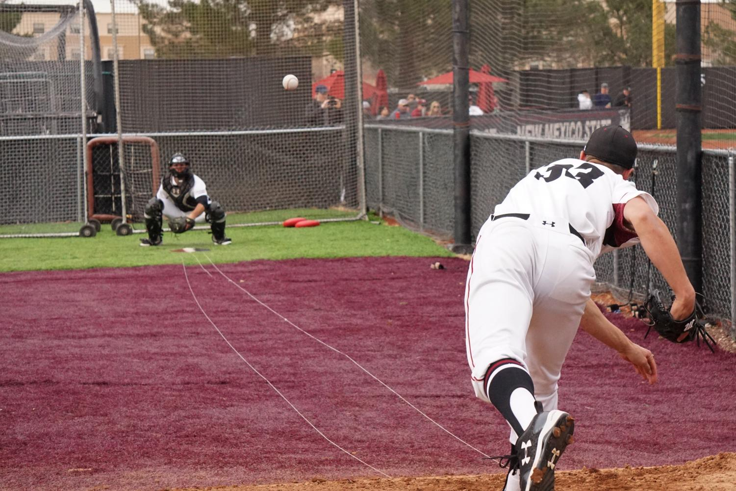 The Aggie bullpen had a good outing today as NMSU completed the 8-2 victory.