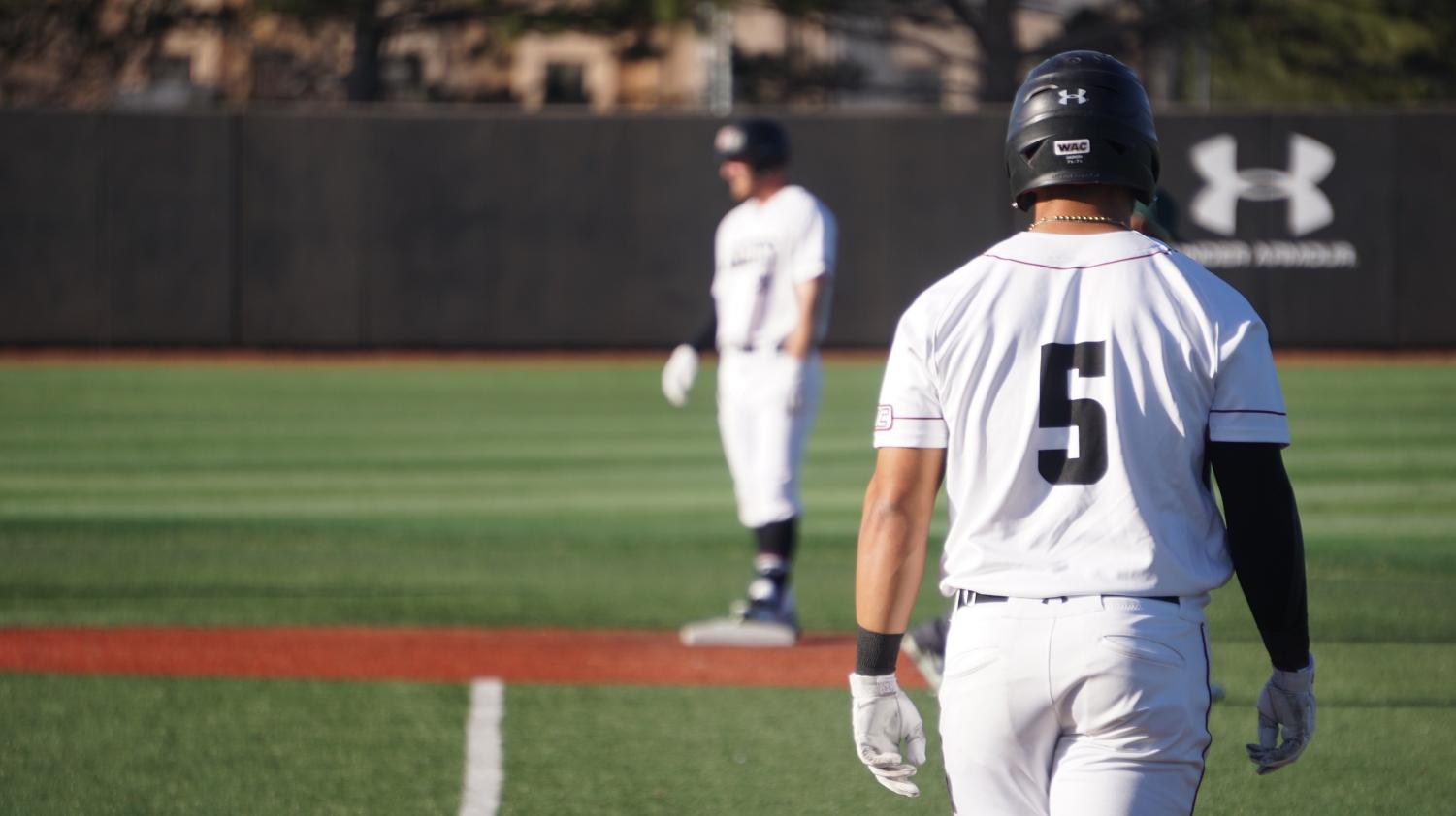 Junior outfielder Tristen Carranza takes a lead Friday evening at the 'Skew as his team set a new program record for most runs in a single-game; NMSU defeated MVSU 39-0.