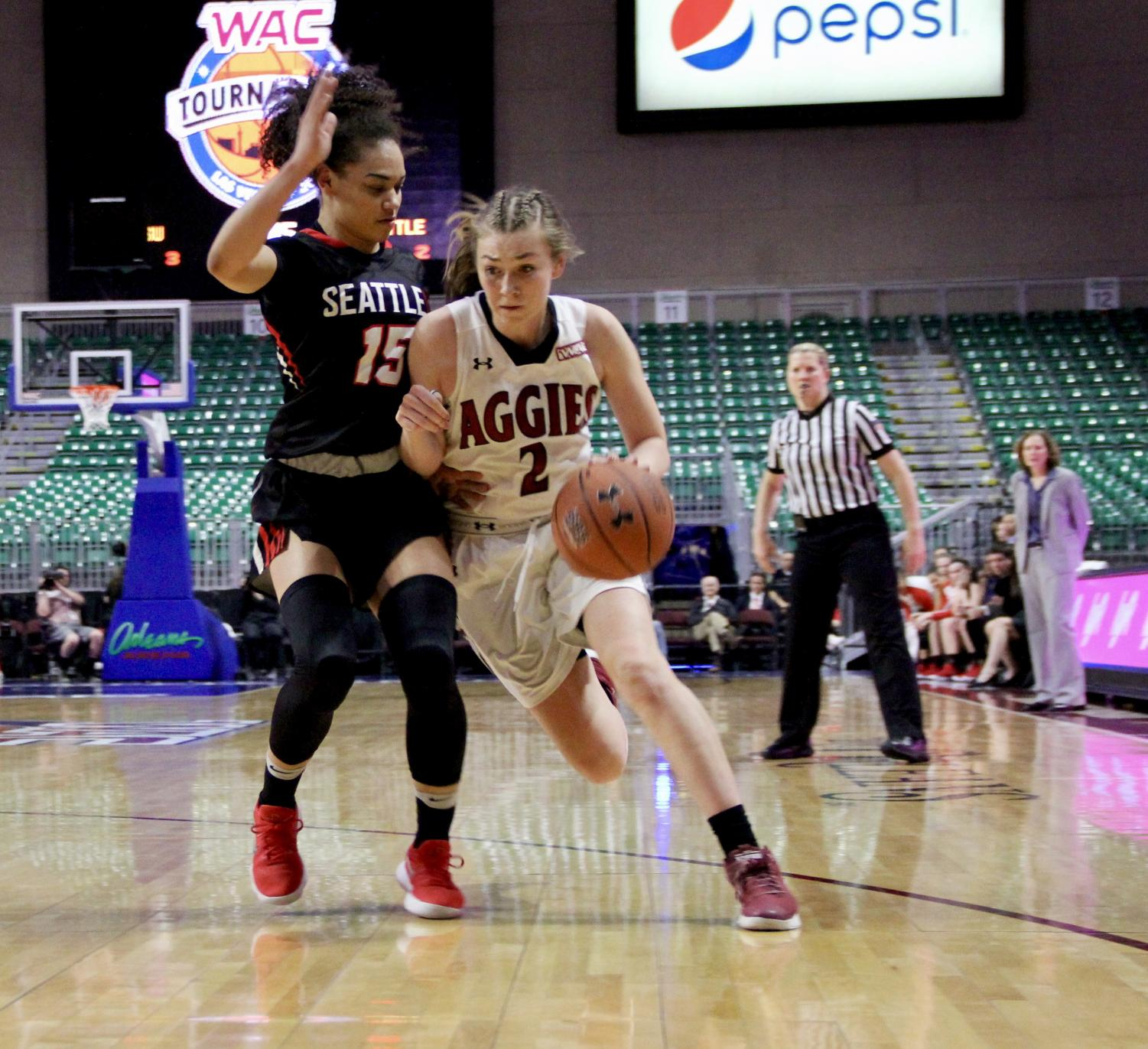 NMSU's Brooke Salas slashes to the basket Friday night inside the Orleans Arena during the  WAC semifinals. Salas and her squad could not handle the high power shooting of Seattle U, losing the game 84-61.