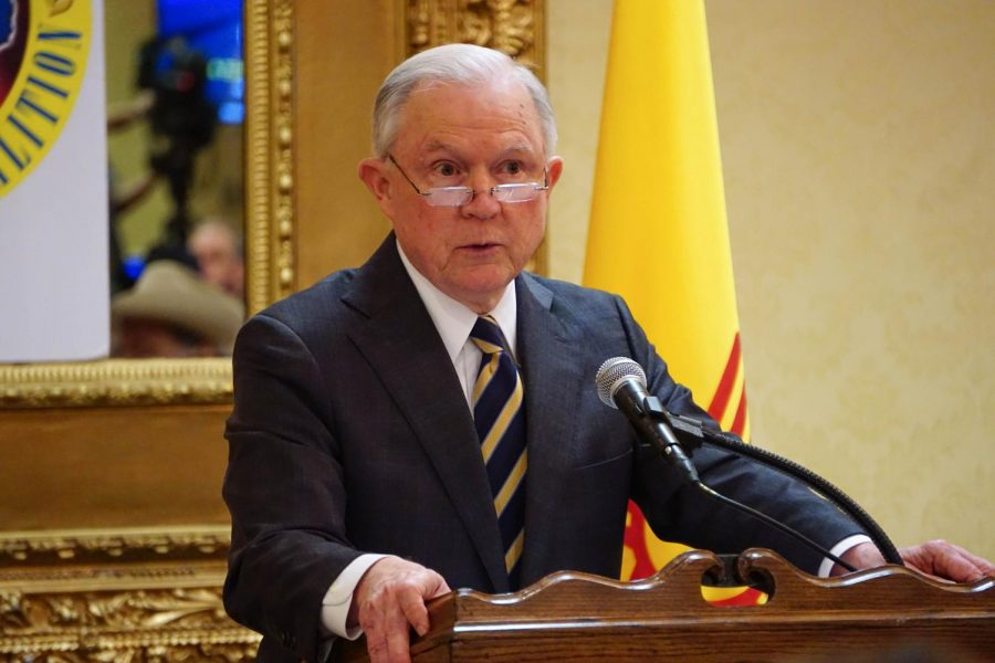 Attorney+General+Jeff+Sessions+speaks+inside+the+Ramada+Inn+conference+room+Wednesday+afternoon.+