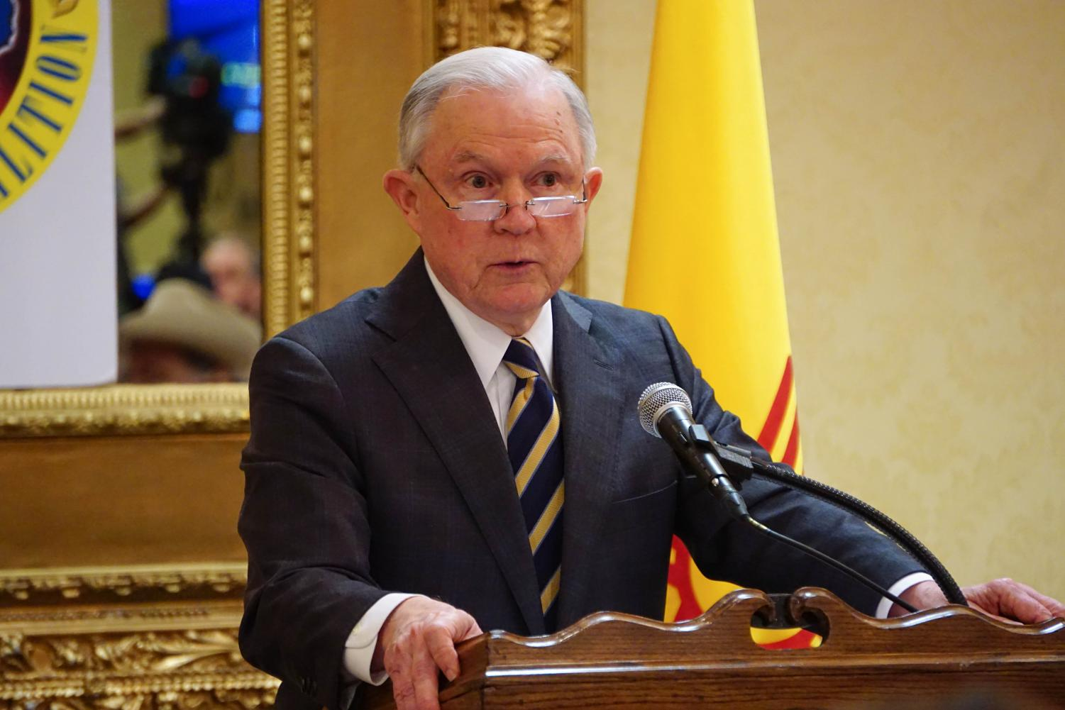 Attorney General Jeff Sessions speaks inside the Ramada Inn conference room Wednesday afternoon.