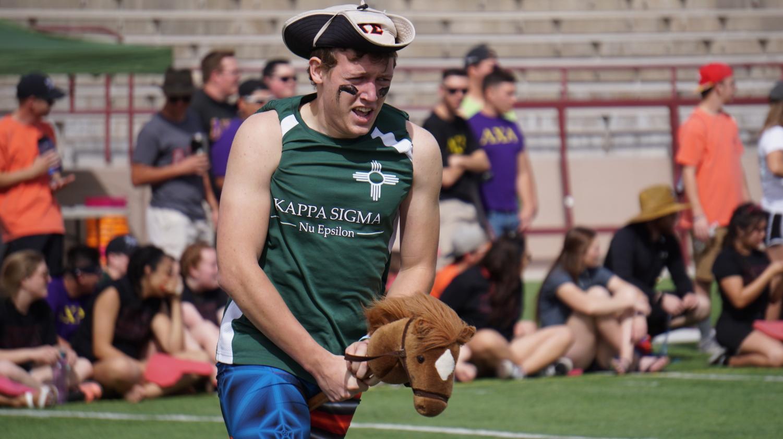 Kappa Sigma member Jacob Teaney giving it his all.
