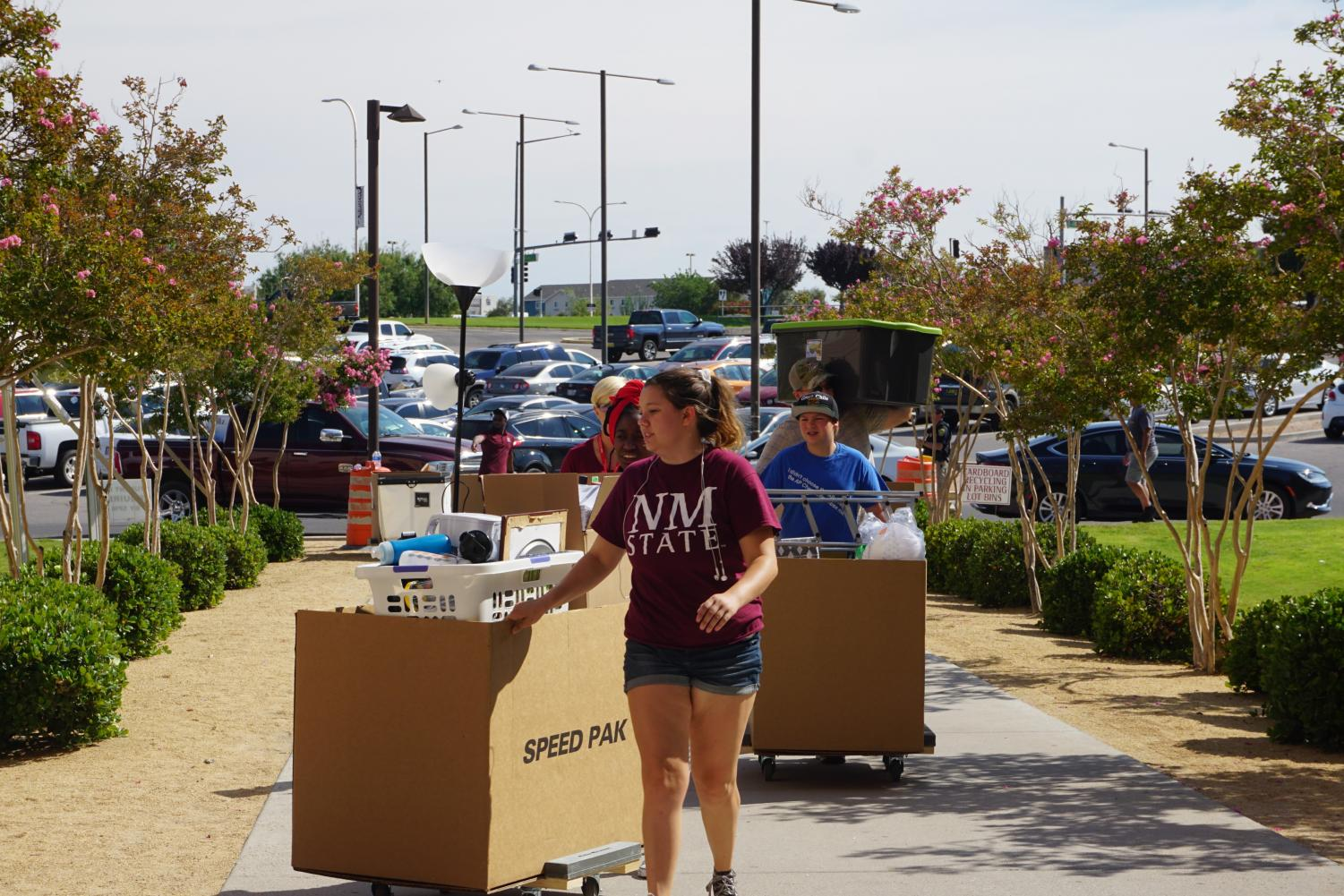 Students move back into the residential halls at NMSU. The Fall semester begins Wednesday.