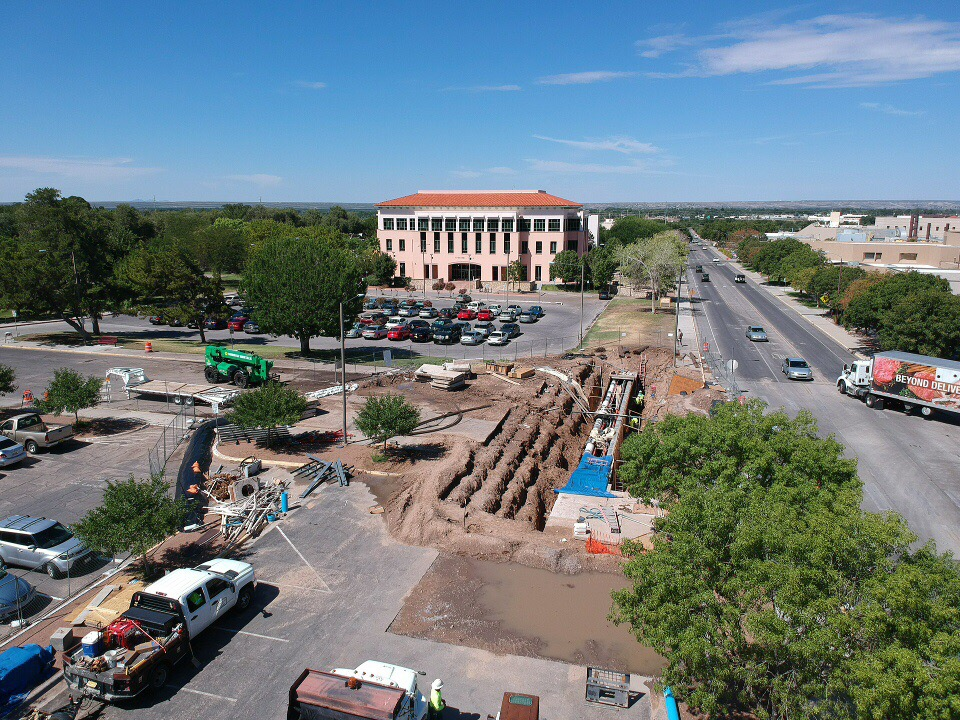 Construction on Stewart Street revealed a multi-year underground repair plan. The massive hole pictured above occupies the most of the west intersection in front of O'Donnell Hall.