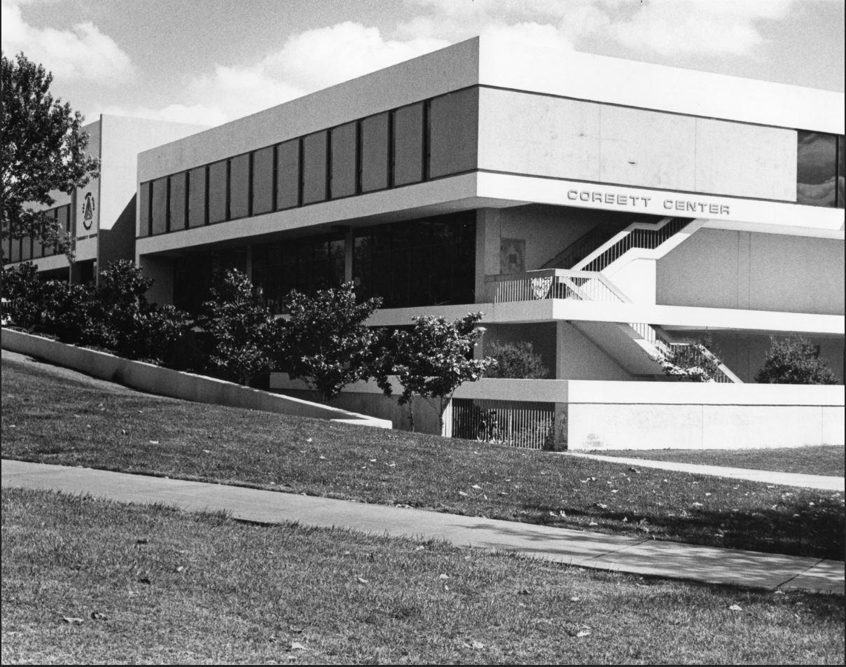 Corbett Center Student Union circa 1970, courtesy of Branson Library Archives.