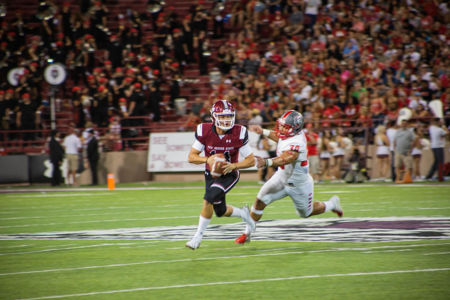 A bye week could help QB Josh Adkins improve by the time NMSU faces Liberty for Homecoming.