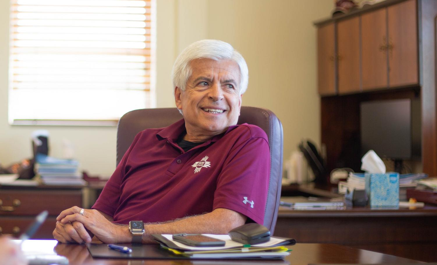 Chancellor Dan Arivzu acknowledges the difficulties of being an FBS football school and will attempt, along with Director of Athletics Mario Moccia, to lead NMSU into a FBS football conference in the near future.