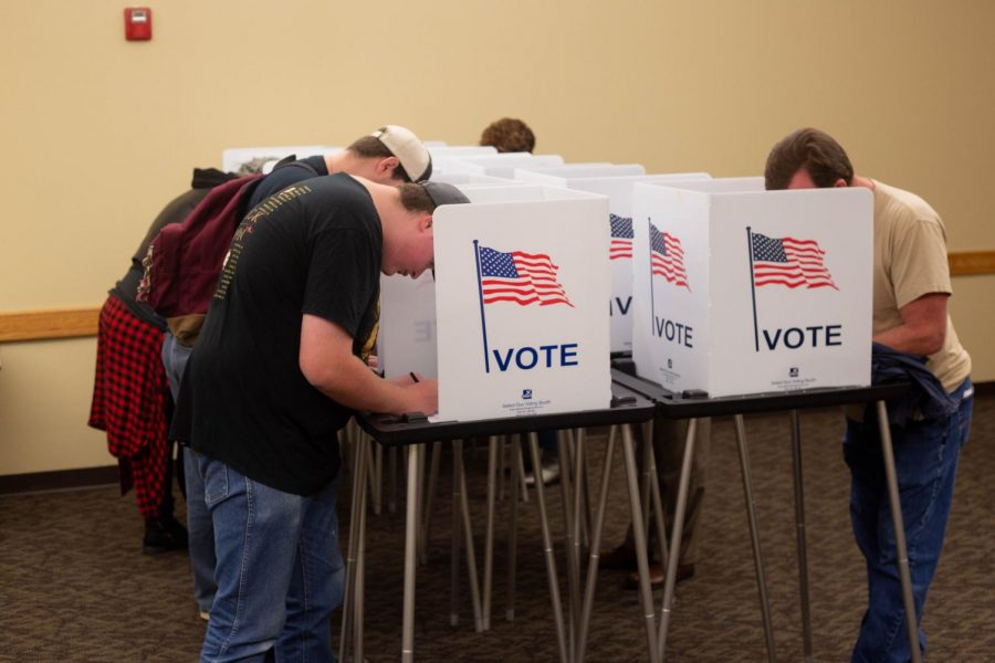 Voters+on+the+campus+of+NMSU+are+using+the+convenience+of+having+an+area+on+campus+to+vote+early.+The+last+day+to+vote+is+Nov.+6.+