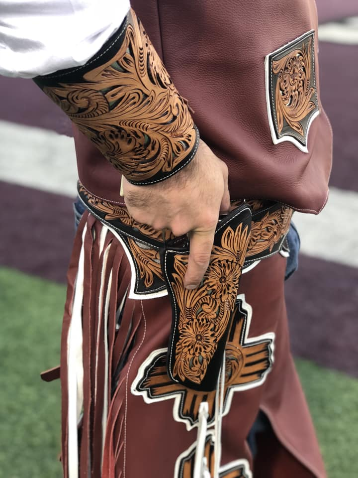 Pistol Pete sports new chaps and holster, hand crafted by former professional bull rider Randen Henry.