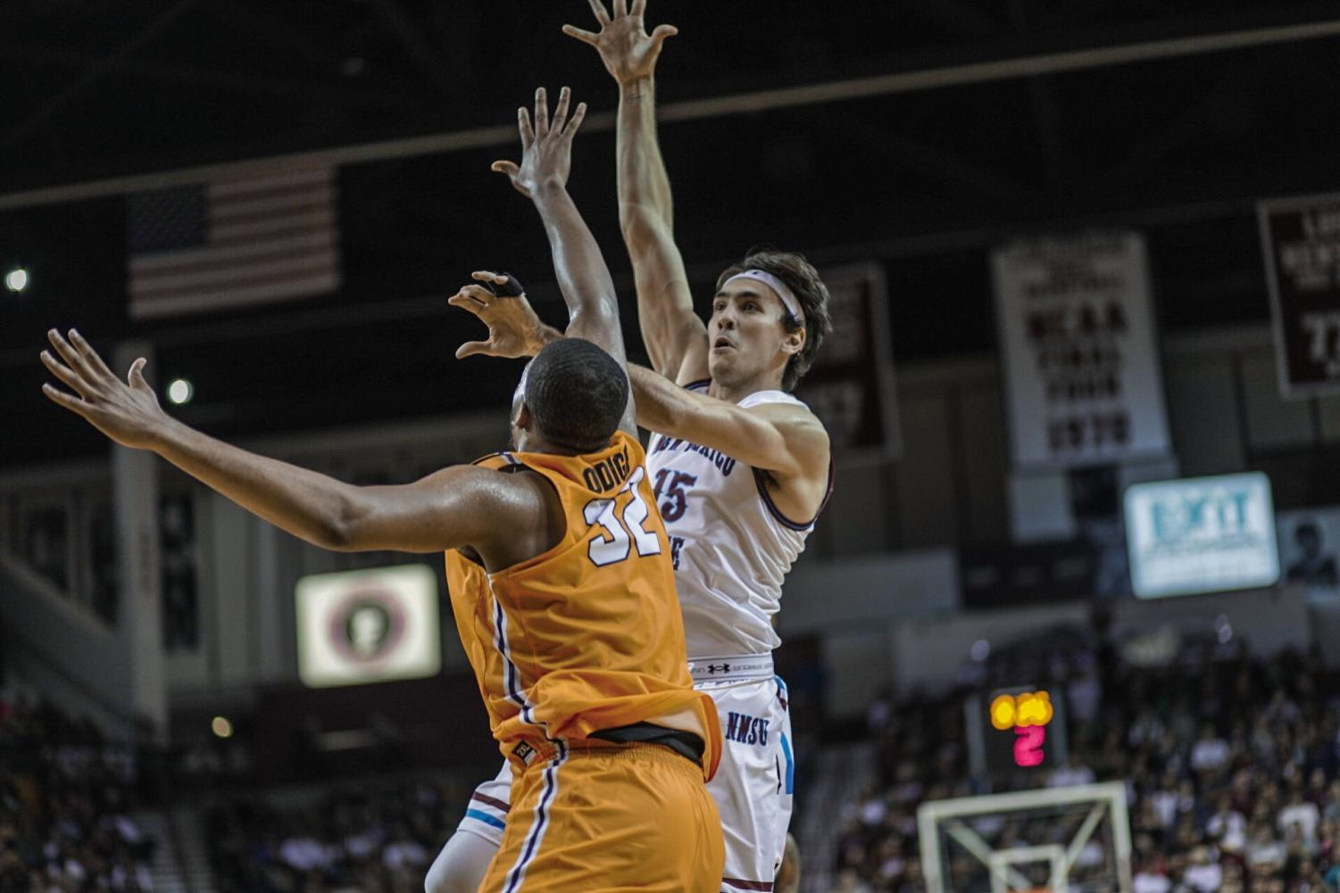 Ivan Aurrecoechea led the Aggies with 15 points on the night.
