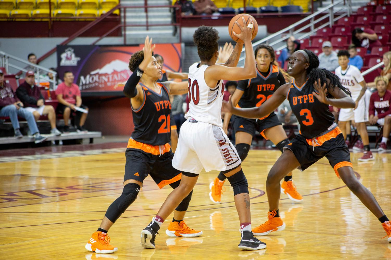 Gia Pack and the Aggies start off head coach Brooke Atkinson's second season in charge with a resounding win over UTPB.