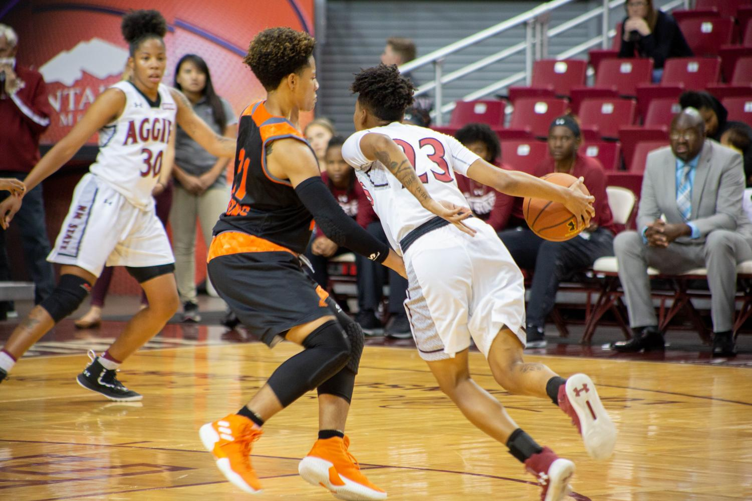 Sophomore guard Aaliyah Prince scores a career-high 17 points in NM State's dominant victory over Northern New Mexico.