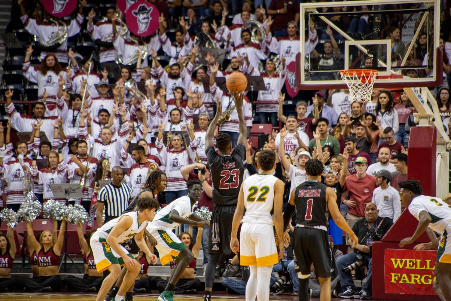The student section came out in full force for NMSU's 73-56 win over NDSU on Tuesday.