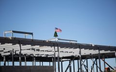 'Tis the season: A Christmas tree christens top of under-construction art building
