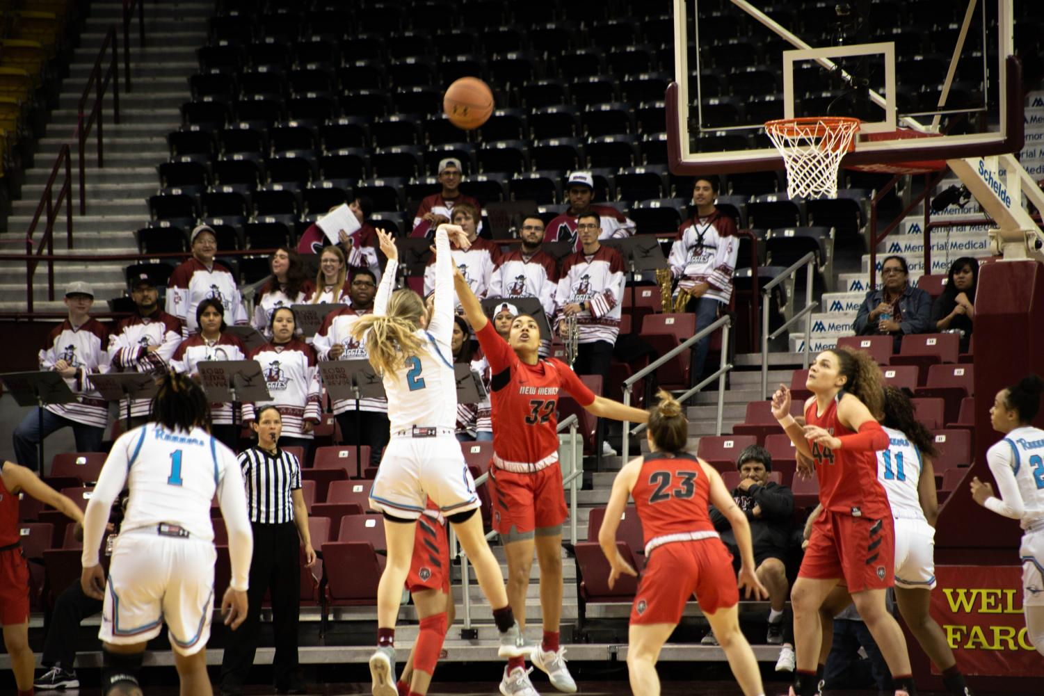 Brooke Salas' 24 points aren't enough to lift a struggling NM State offense over in-state rival UNM.