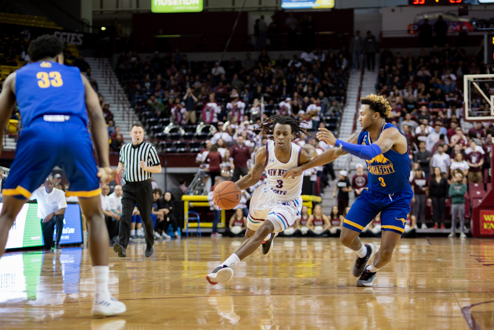 Terrell Brown leads the way with 15 points in NM State's 70-54 win over UMKC.