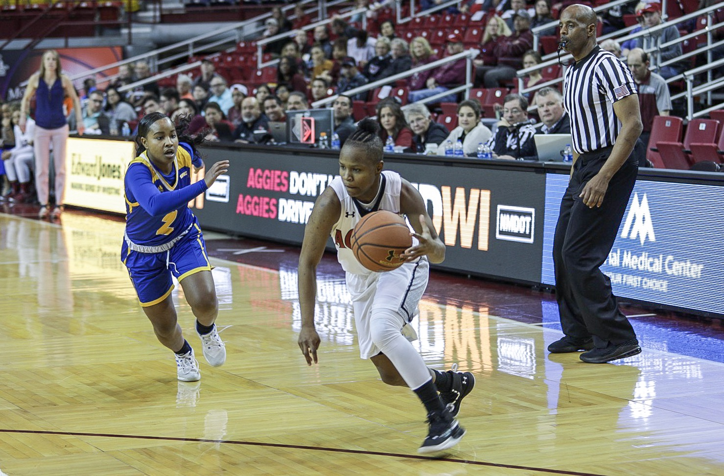 New Mexico State makes amends for their 54-51 loss at Grand Canyon in January with an emphatic 29-point win over their conference rivals.