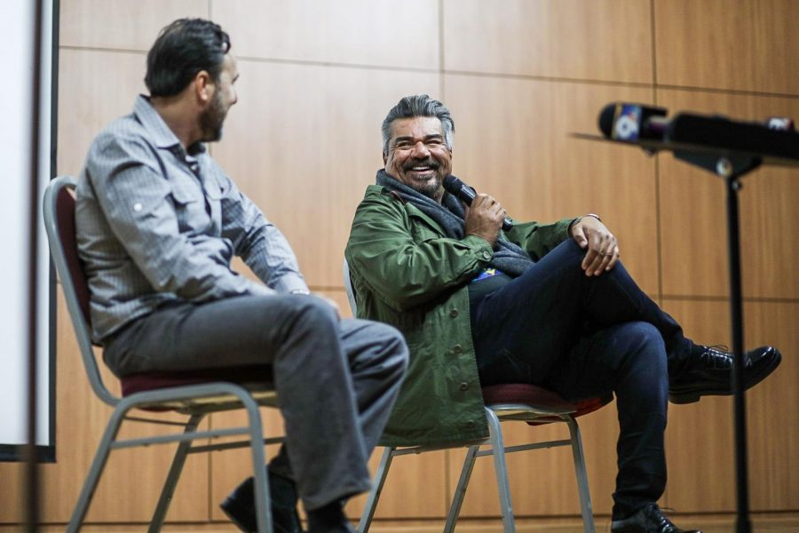 George Lopez's visit to NMSU February 21, 2019 following production of Walking with Herb. Pictured: Ross Marks (Left), George Lopez (Right).