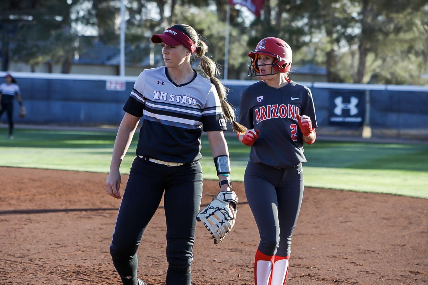New Mexico State musters just seven combined hits in their 11-3 and 11-1 losses to U of A in the Tuesday night doubleheader.