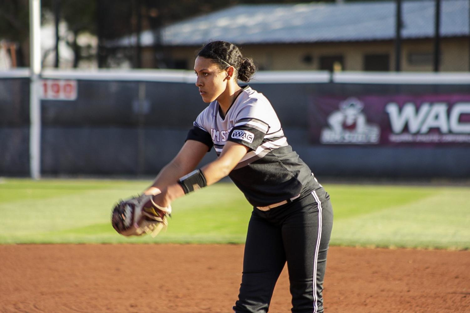 Samaria Diaz strikes out 13 and throws her second one-hit game in a row in the first tilt of NM State's doubleheader vs. the Lobos.