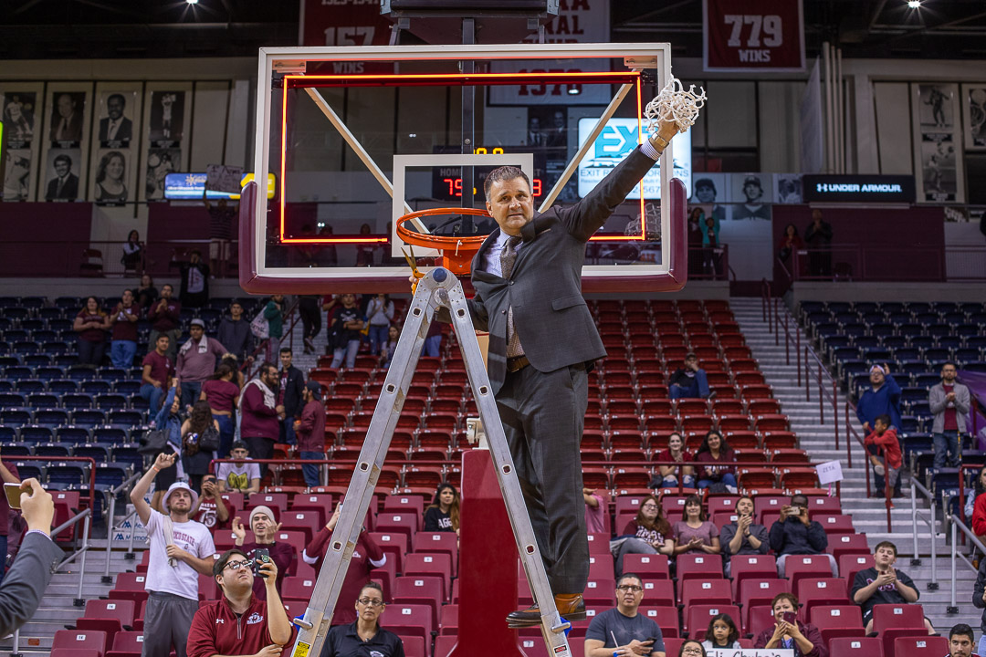 NM State head coach Chris Jans after the Aggies celebrated winning the WAC regular season title.