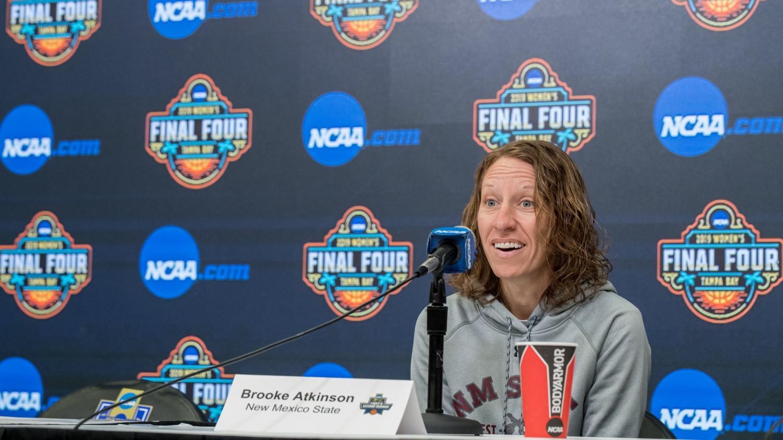 NMSU head coach Brooke Atkinson talks to media inside Iowa State's Hilton Coliseum.  Photo Credit: Luke Lu