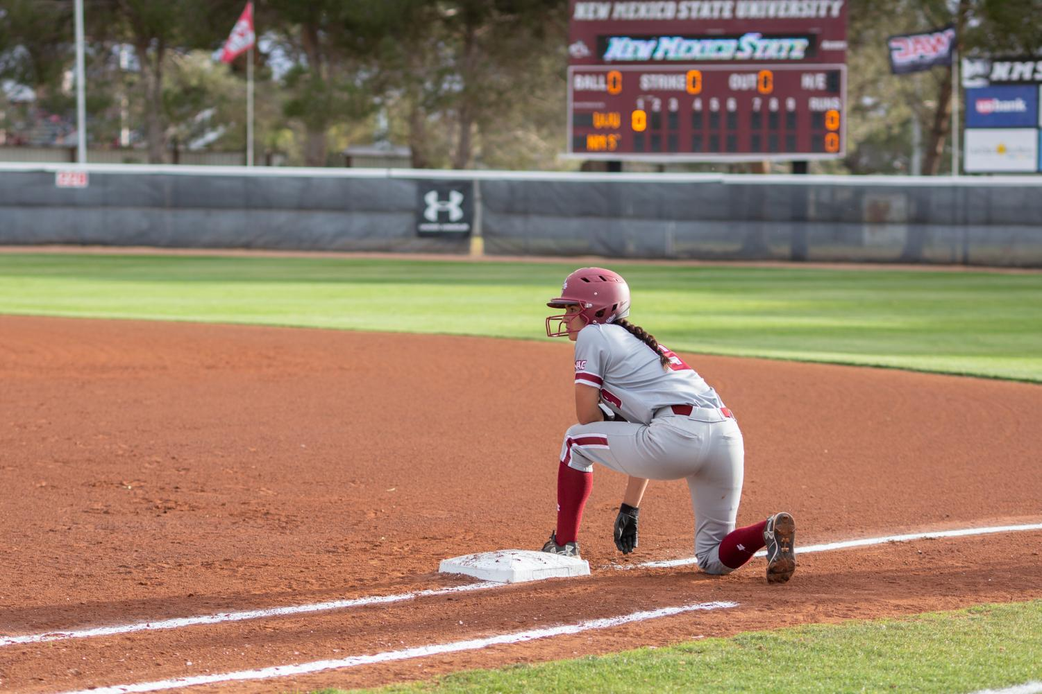New Mexico State beats UMKC 12-10 and 11-6 to ensure a winning record in-conference for the seventh straight season.