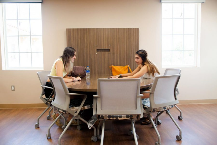 Students study in brand new Juniper Hall commons.