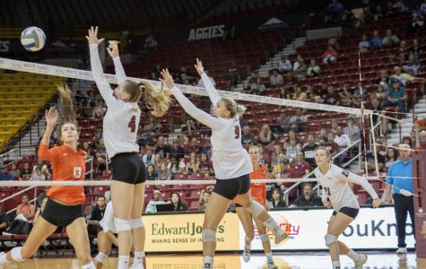 Aggies dominate the net in record setting home opener win over Pacific