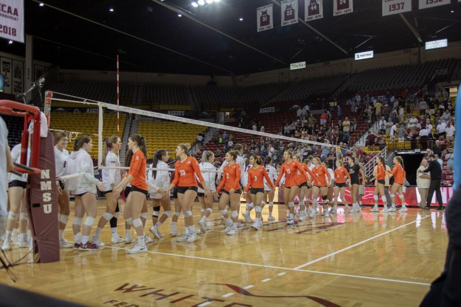 NM State wins their 24th consecutive WAC game in a three-set thrashing of the Vaqueros Tuesday afternoon.