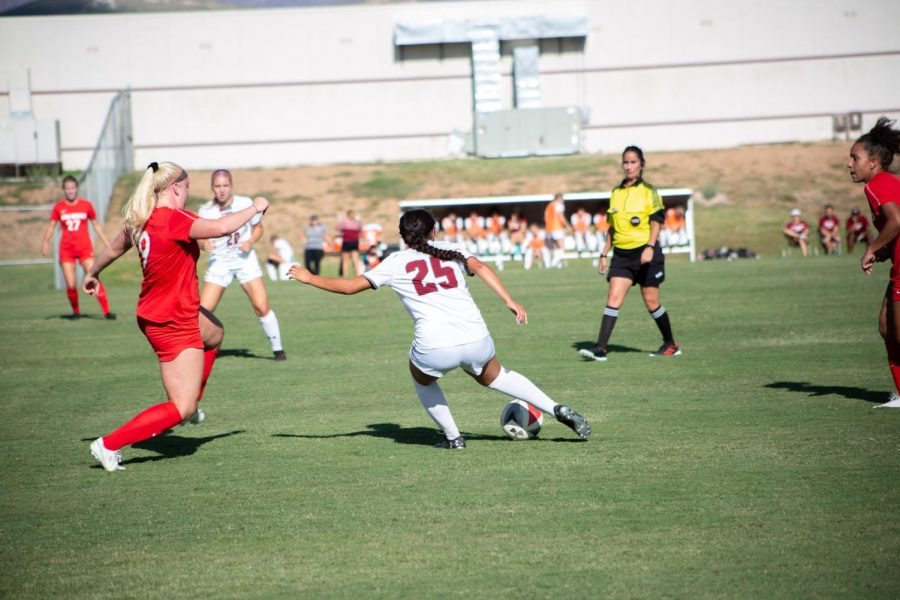Hernandez+nets+her+fifth+goal+of+the+season+in+the+Aggies%27+loss+to+Cal+Baptist.