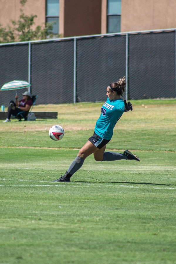 Goalkeeper Dmitri Fong gets a clean sheet in her senior day game.