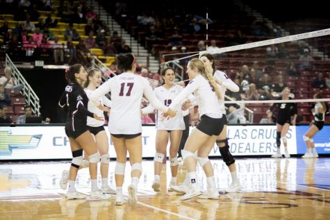 New Mexico State preserves their perfect in-conference record, coming back from two sets down to pull off their 12th straight win.