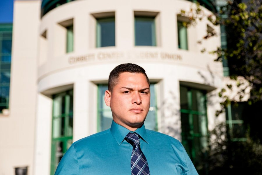 Mayoral candidate and former NMSU student, Jorge Sanchez in front of Corbett Center Student Union.