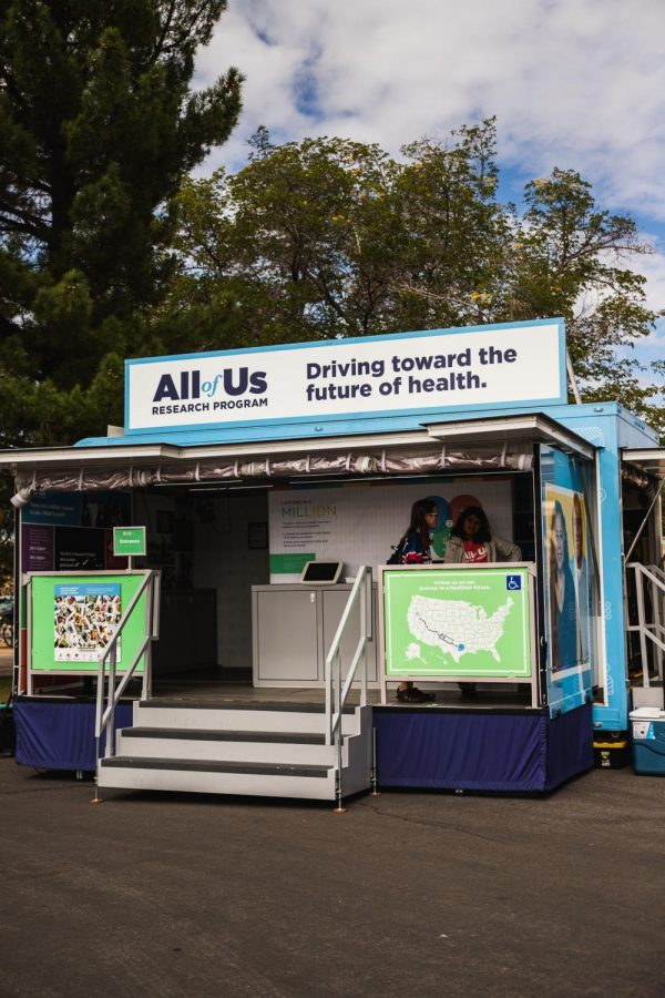 The All of Us trailer parked in front of the Corbett Center Student Union building this week, aiming to gather research data from one million Americans of diverse backgrounds to aid health research.