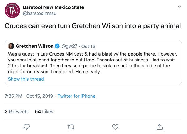 NMSU Top Tweet: Las Cruces turns Gretchen Wilson into a party animal.