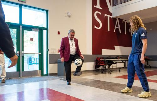NMSU President John Floros juggles a soccer ball prior to the university announcing the establishment a developmental men's soccer program at the university. (NMSU photo by Josh Bachman)