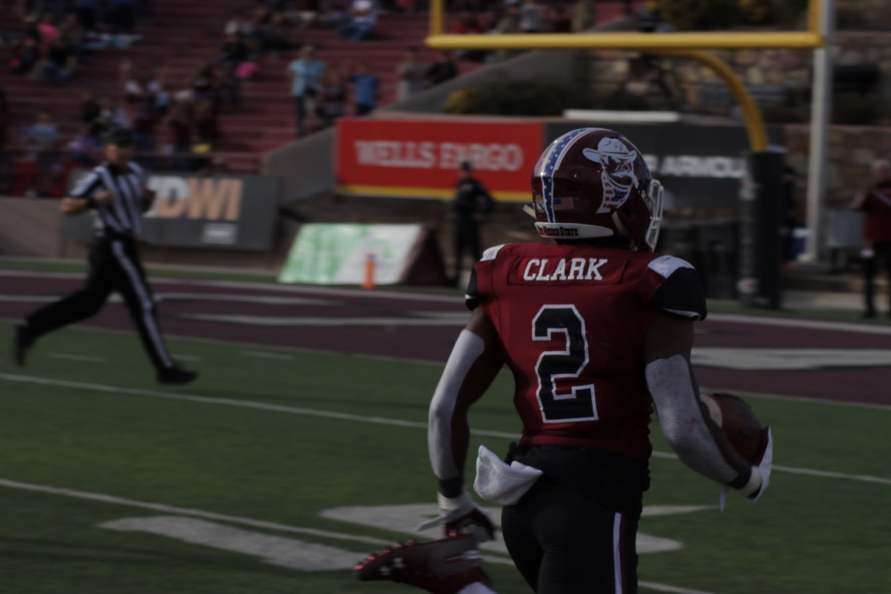 OJ Clark takes the punt return to the house, marking the first punt return for a touchdown since 2008 for NM State.
