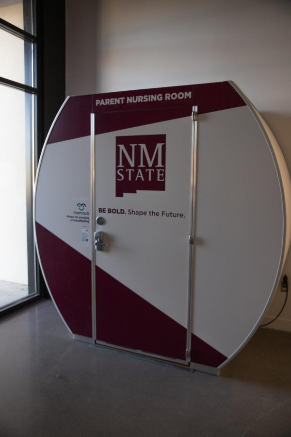 The nursing pod is an air-conditioned space with two bench-like seats, a pull-out table and outlets.