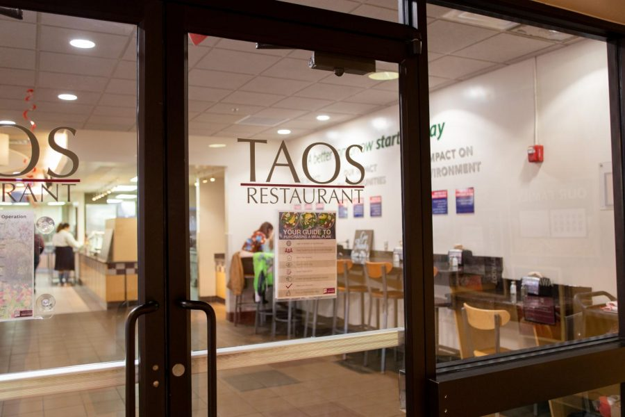 The entrance to Taos restaurant, the main campus cafeteria for NMSU students.