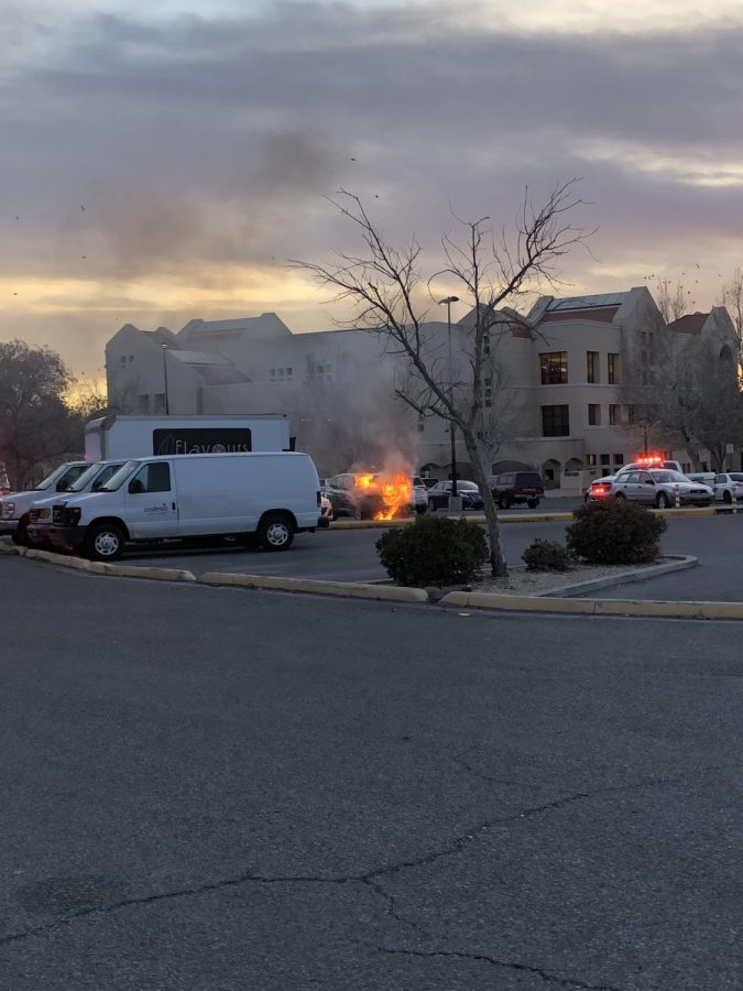 Car+on+fire+in+parking+lot+45+of+NMSU+main+campus.