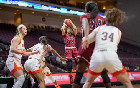 Rodrea Echols pulls up on the UTRGV defense to bury a mid-range jumper in NM State's 73-61 win.